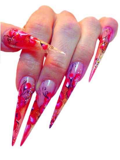 Modische Stiletto Nails mit Nailart